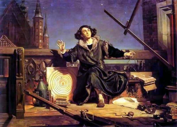 រូបគំនូរបង្ហាញពី Nicolas Copernic តារាវិទូប៉ូឡូញ ដែលគេចាត់ទុកថាជាបិតានៃតារាស្រ្តសម័យបុរាណ